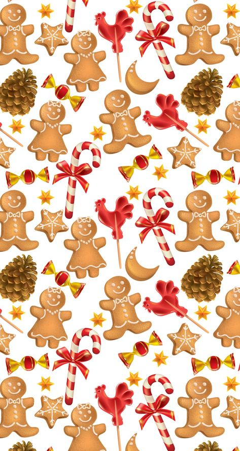 Gingerbread Men Christmas Candy Cane With Images Christmas Wallpaper Christmas Phone Wallpaper Christmas Wrapping Paper