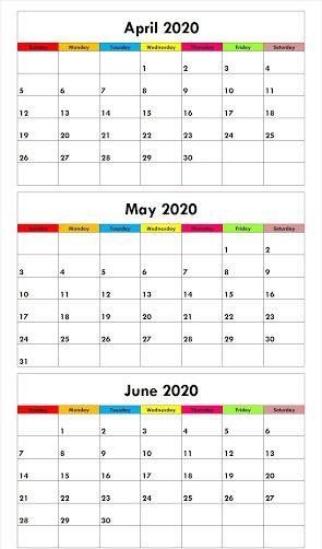 Free Printable April May June Calendar 2020 Templates In 2020