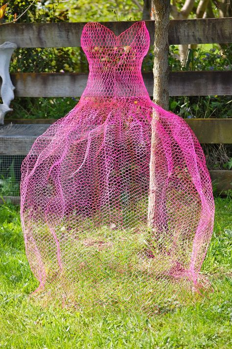 Chicken wire mesh could be fabricated into sculptures or used as frame for plants, plaster dinosaur, it could also be made into chicken wire floats.