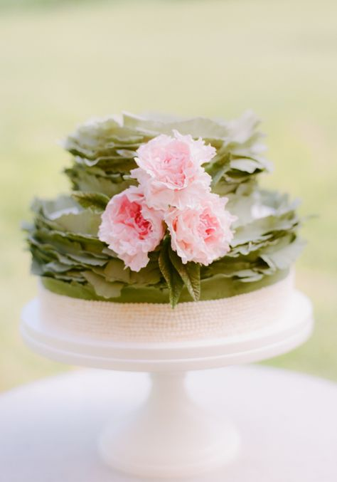 Tiny Pink Pearls on Floral Wedding cake