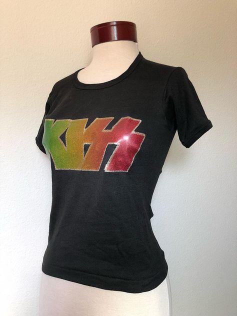 9915251b70998 70s Vintage Kiss T-shirt 1970s Kiss women s tee RARE rock band ...
