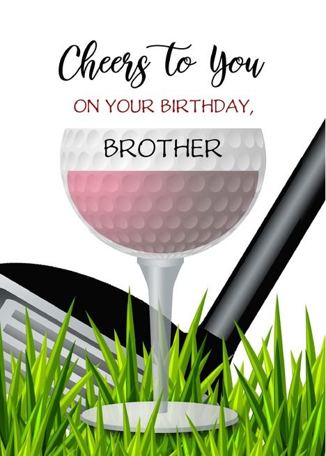 Cheers To You Custom Front Brother Wine Golf Happy Birthday Card