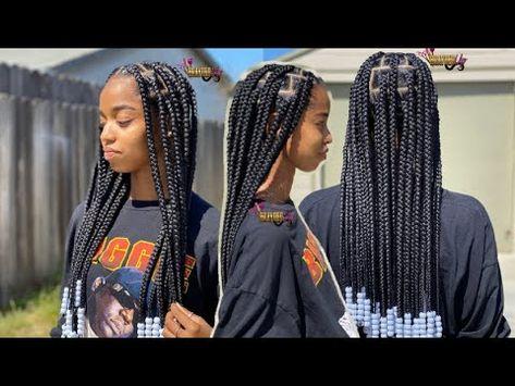 Trending Large Knotless Box Braids With Beads Bileaf Hair Youtube Box Braids Styling Cute Box Braids Box Braids Hairstyles For Black Women