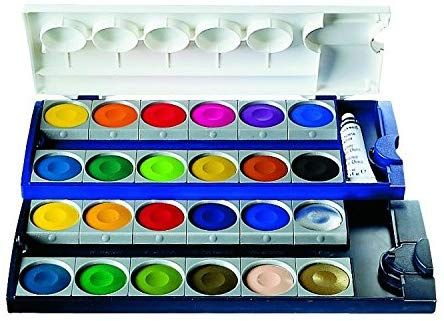 Amazon Com Pelikan Opaque Watercolor Paint Set 24 Colors Plus