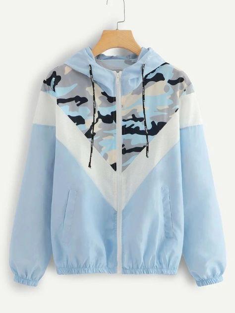SweatyRocks Blue Mesh Panel Camo Print Hooded Jacket Activewear Drawstring Zip Up Hoodie Jacket 2018 Women Autumn Casual Tops - blue,s Hoodie Sweatshirts, Mode Mantel, Coats For Women, Clothes For Women, Mode Hijab, Camo Print, Sport Coat, Fashion Prints, Hooded Jacket