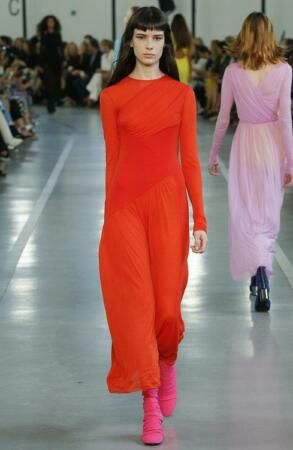New *Emilio Pucci Red/Orange Jersey Tulle Draped Long Sleeve Dress Size 42. womens dresses