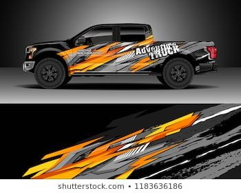 Pick up truck decal wrap design vector  Graphic abstract