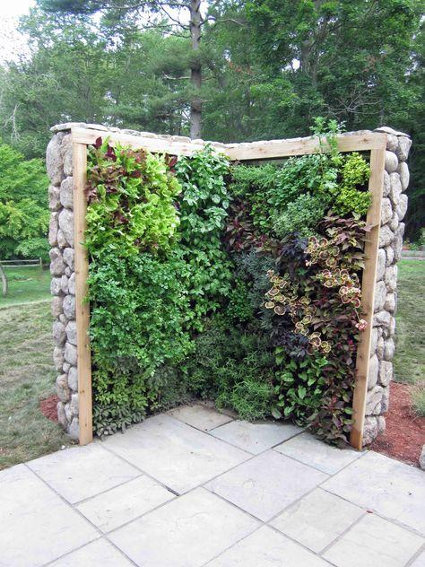 Super Idee für kleine Gärten: Eine Salat- und Kräuterwand. Vielleicht ein nicht ganz typischer vertikaler Garten, aber definitiv ein Hingucker!
