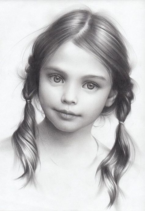 Little Girl Drawing Black White Braids How To Draw A Face White Background Black And White Drawing Little Girl Drawing Beautiful Pencil Drawings