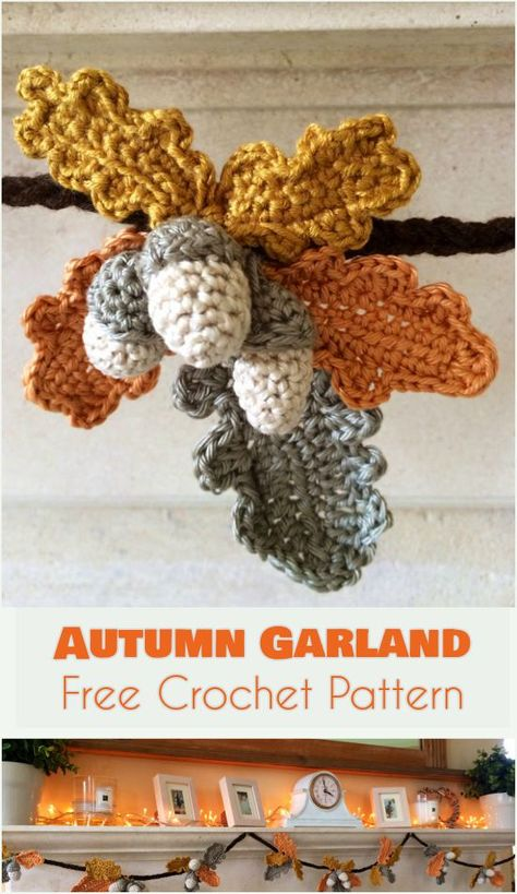 Autumn Garland - Fall & Thanksgiving Decor- Free Crochet Pattern Herbst Girlande - Herbst & Than Crochet Fall Decor, Crochet Garland, Crochet Decoration, Crochet Crafts, Crochet Projects, Autumn Crochet, Crochet Christmas Garland, Crochet Puff Flower, Crochet Leaves