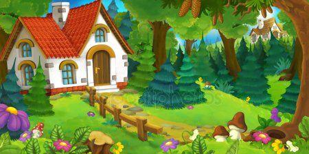 Escena De Dibujos Animados Casa Ilustracion De Bosque Dibujos