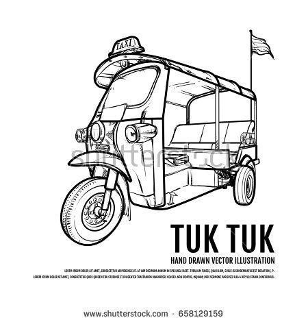 Thai Tuk Tuk Taxi Bangkok Hand Drawn Vector Illustration Travel Thailand Concept การออกแบบโลโก ยานพาหนะ โปสการ ด