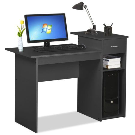 Small Spaces Home Office Black Computer Desk With Drawer And 2 Tiered Storage Shelves Furniture Walmart Com Small Computer Desk Black Computer Desk Desk With Drawers