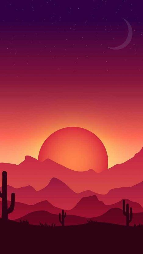 Iphone Sunset Drawing Wallpaper