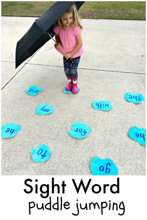 Puddle Jumping Sight Word Game for preschool and kindergarten spring reading fun! Puddle Jumping Sight Word Game for preschool and kindergarten spring reading fun! Kindergarten Learning, Toddler Learning, Teaching Kids, Learn To Read Kindergarten, Teaching Toddlers Letters, Learning Activities For Kids, Alphabet Learning Games, Learning To Read Games, Kindergarten Fashion