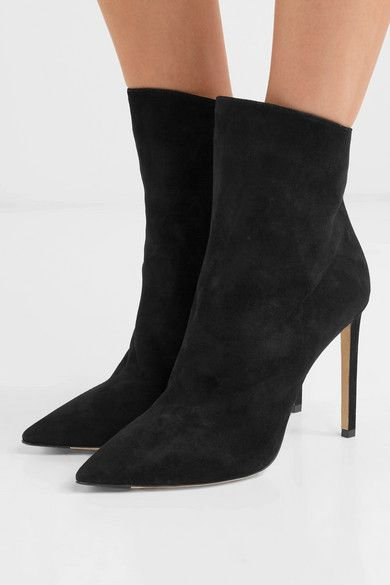 Black Helaine 100 suede ankle boots