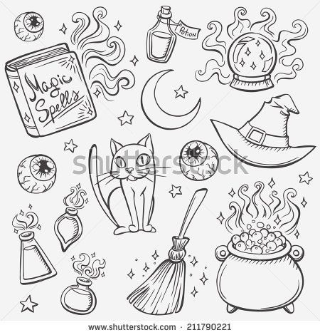 stock-vector-halloween-witches-attributes-doodles-set-211790221 ...