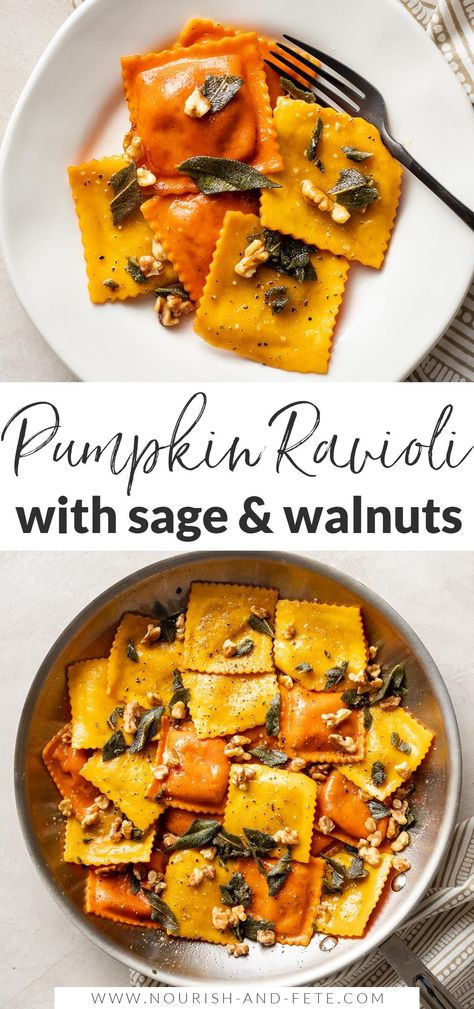 This easy recipe elevates store-bought pumpkin ravioli with sage brown butter sauce, toasted walnuts, and a surprise finishing touch. This is a dreamy fall dinner, and best of all it takes just 25 minutes!