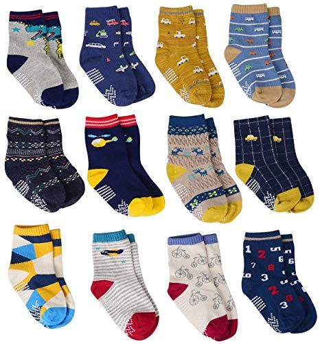 12 Pairs Toddler Boy Non Skid Socks Cute Cotton with Grips Baby Boys Anti-skid Socks