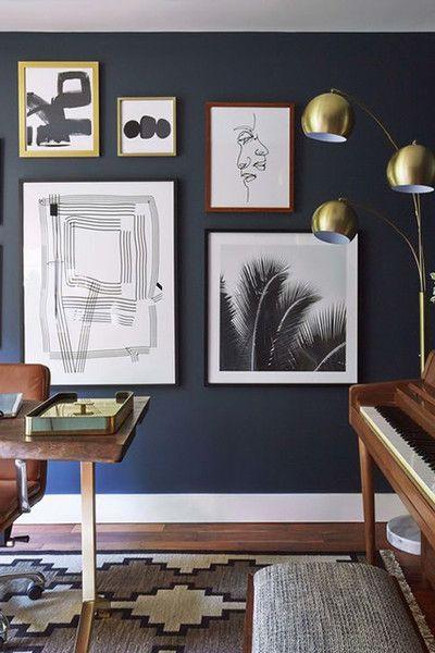 Dark Blue Mid Century Modern Living Room Mid Century House Mid