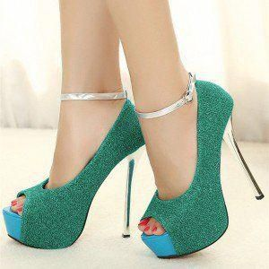1f1a08a0cc1a Turquoise Heels Ankle Strap Peep Toe Sparkly Heels Platform Pumps  Promheels