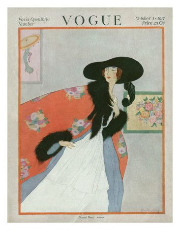 Vogue Cover - October 1917    Illustration of woman in art gallery with white dress, orange coat and hat - PARIS OPENINGS.