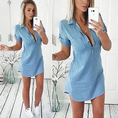 f5877f4f7d Fashion Women Summer Loose Casual Denim Short Sleeve Shirt Dress ...