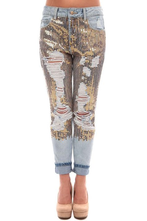 Ultra Glam Gold Sequin Distressed Bling Jeans