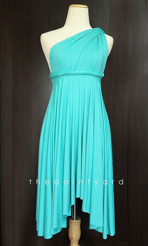 2d5d30bc428 TDY Turquoise Short Asymmetrical Bridesmaid Dress Convertible Dress ...