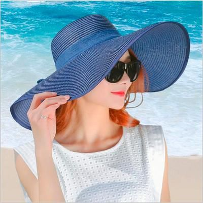 ba7246930 Simple Summer Straw Hat Women Big Wide Brim Beach Hat Sun Hat ...