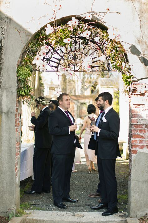 Ceremony entrance decor // Lauren & Jon's wedding at Alder Manor in Yonkers, NY // Photo: Jonathan Young