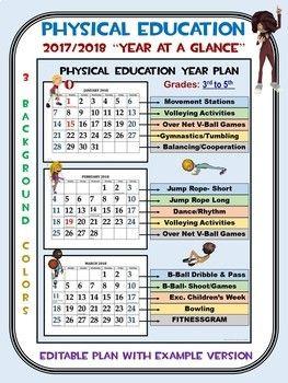 Physical Education 2017 2018 Year At A Glance Editable Plan Elementary Physical Education Physical Education Curriculum Physical Education Activities