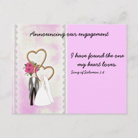 Engagement Announcement With Bible Verse Zazzle Com Engagement Announcement Engagement Invitations Wedding Engagement Announcements