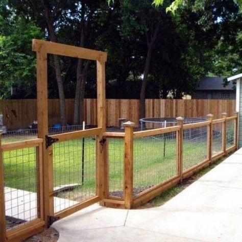 Top 60 Best Dog Fence Ideas - Canine Barrier Designs Safeguard the beloved family doggo with the top 60 best dog fence ideas. From rustic wood and mesh wire to modern metal, discover canine barrier designs. Patio Fence, Backyard Fences, Garden Fencing, Backyard Landscaping, Concrete Fence, Backyard Designs, Farm Fencing, Outdoor Fencing, Fenced Garden