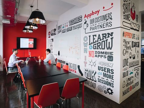 I worked with the team at Appboy in NYC to create a custom typographic mural using their different mantras, slogans, and funny office phrases. The team supplied me with their icons and illustration.