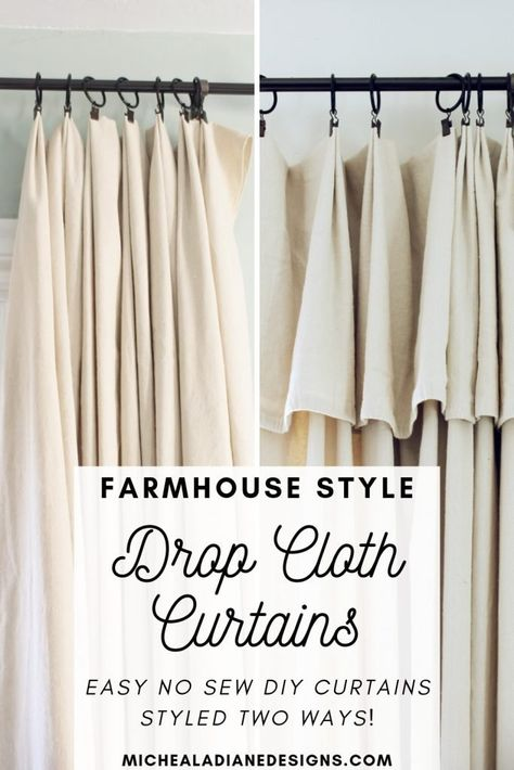 Easy, inexpensive, no sew, DIY farmhouse drop cloth curtains styled 2 different ways! Dekor diy DIY Farmhouse Style Drop Cloth Curtains- 2 Ways