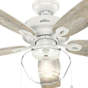 Hunter Clear Globe Led 52 In Satin White Led Indoor Outdoor Ceiling Fan 5 Blade Lowes Com In 2020 White Ceiling Fan Ceiling Fan Rustic Ceiling Fan