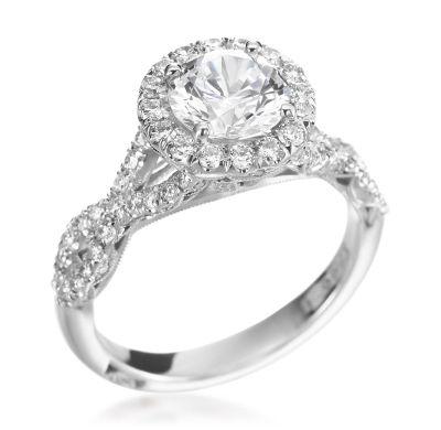 Tacori - Petite Crescent Collection Platinum 0.70ctw Diamond Round Setting (Available at Michael C. Fina)