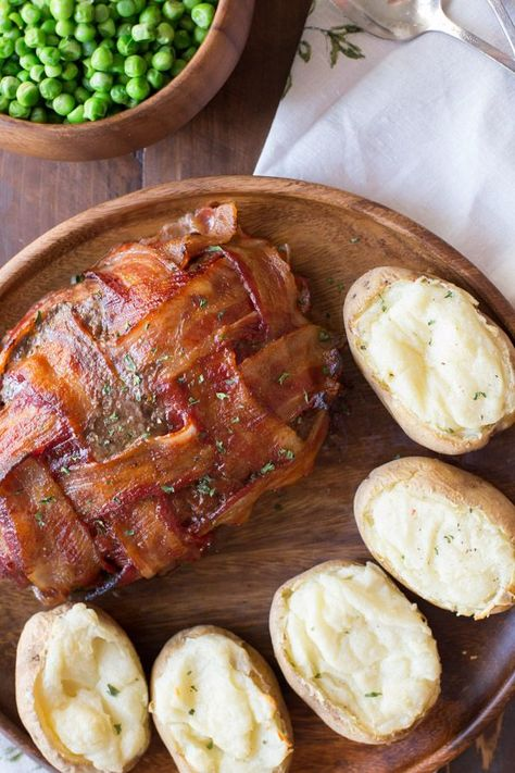 This bacon wrapped meatloaf is comfort food at its best, kicked up a notch with a Smokehouse Maple seasoning! #baconwrappedmeatloaf #bacon #meatloaf #comfortfood #dinner