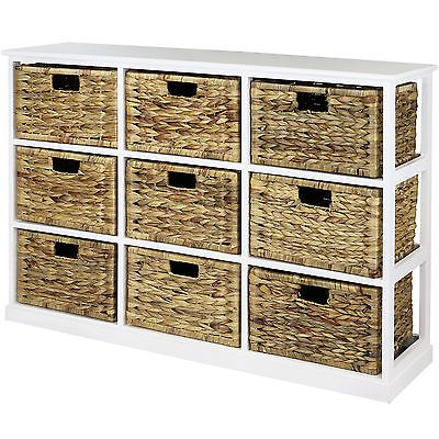 Hartleys 3x3 White Wood Home Storage Unit 9 Wicker Drawer Baskets