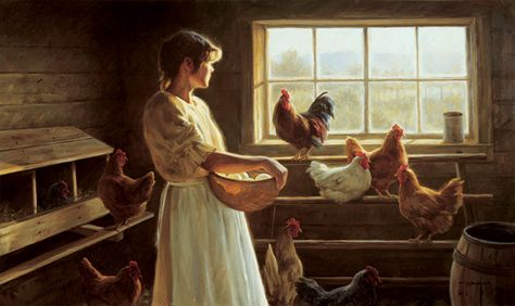 country girls farm life art little girls | Lilac Lane Cottage: Paintings That Touch Your Heart