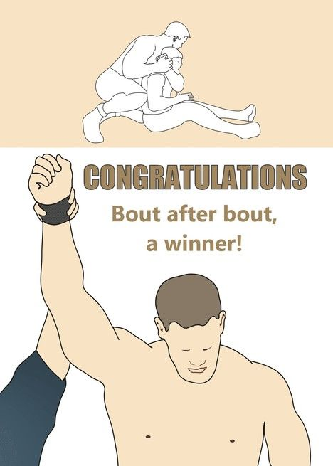 Congratulations Wrestling Champion Holding Up Arm And In A Bout