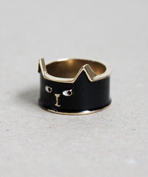 Lazy Oaf Cat Ring Black