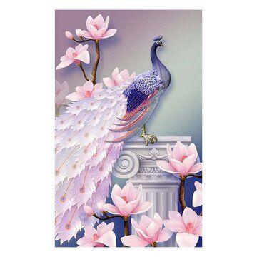 DIY 5D Diamond Painting Cross Stitch squareRound Diamonds Embroidery Peacock Wealth and Good Fortune Diamond Mosaic Home Decor