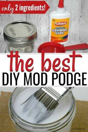Homemade Mod Podge - How to make mod podge <br> Learn how to make mod podge. You have to try this easy homemade mod podge recipe with only 2 easy ingredients. So simple! Diy Mod Podge, Mod Podge Crafts, Glue Crafts, Easy Diy Crafts, Diy Crafts To Sell, Mod Podge Uses, Home Made Mod Podge, Diy Glue, Jar Crafts