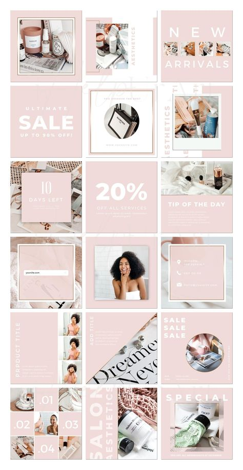 Instagram Posts Templates for Canva - Editable Instagram Posts - Beauty Service Instagram Layout - B