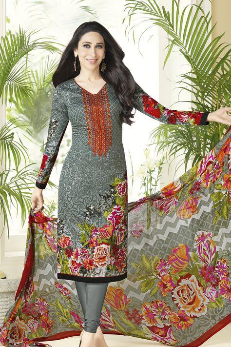 458aa4ff6 Designer Straight Cut atisundar elegant Grey Embroidered Designer Semi  Stitched Straight Cut In Pure Cotton - 14384