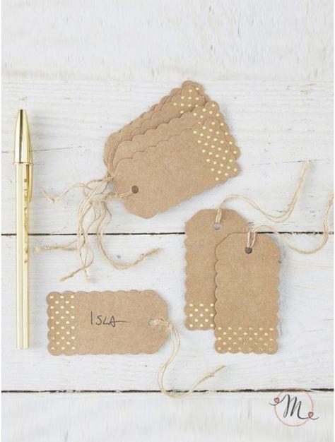Wedding tags wedding gold.  Originali tags in cartoncino e pois dorati.  Misure…