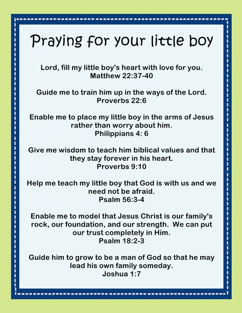 Here's a great printable for moms of boys: praying for your little boy printable
