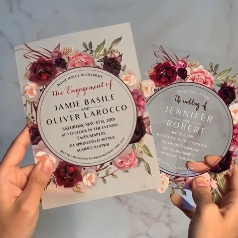 #EWI acrylic and vellum paper floral wreath wedding invitations